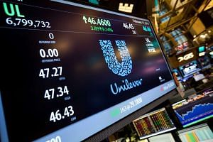 A monitor displays Unilever NV signage on the floor of the New York Stock Exchange, Feb. 17, 2017.