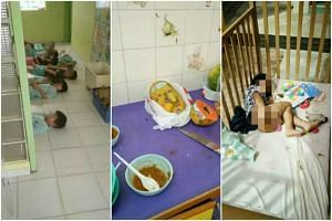 Photos on WeChat alleging ill-treatment of children at a childcare centre, including letting children sleep on the floor, serving them rotten fruit and leaving a child in a cot smeared with faeces.