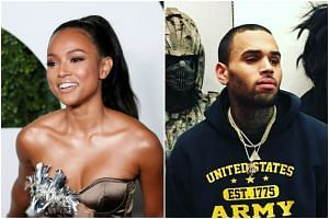 Model Karrueche Tran (left) requested the restraining order as singer Chris Brown had recently sent her threats by text message.