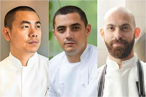 (From left) Chef Andre Chiang of Restaurant Andre, chef Julien Royer of Odette and chef David Pynt of Burnt Ends.
