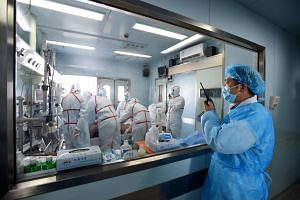 An H7N9 bird flu patient being treated in a hospital in Wuhan, central China's Hubei province on Feb 12, 2017.