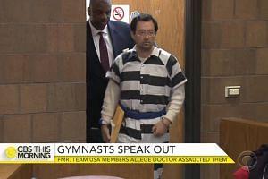 Nassar arriving in court in a screenshot from a CBS News report.