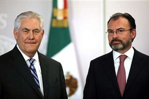 US Secretary of State Rex Tillerson and Mexico's Foreign Secretary Luis Videgaray after delivering statements, Feb 23, 2017.