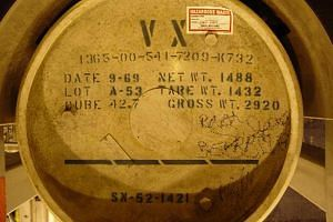 The VX nerve agent stored in a container.