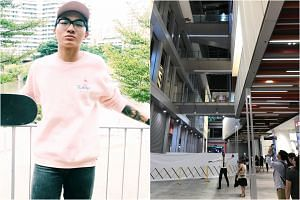 The teen in the video is believed to be Jonathan (left), who died after falling from a fourth-storey link bridge in Orchard Central on Friday. Witnesses had reportedly seen the 17-year-old vaulting over the railing to retrieve a phone that had fallen