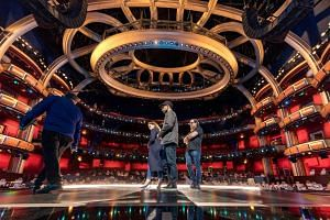 Actors Riz Ahmed and Felicity Jones on stage during rehersals for the 89th Annual Academy Awards.