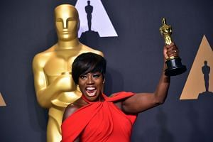 Actress Viola Davis with the Oscar for Best Actress in a Supporting Role in the press room at the 89th Oscars on Sunday (Feb 26) in Hollywood, California.