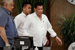 Philippine President Rodrigo Duterte arriving for a command conference regarding ongoing operations against Abu Sayyaf, at the Malacanang Presidential Palace in Manila on Feb 27, 2017.