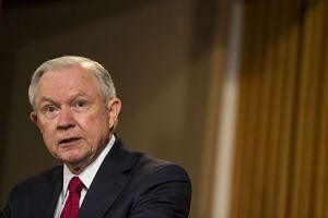 US Attorney-General Jeff Sessions speaking at the Department of Justice on Feb 28, 2017.