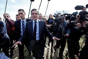 Francois Fillon (centre) meeting winegrowers in Nimes, France, March 2, 2017.