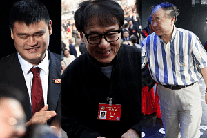 {From left) Yao Ming, Jackie Chan and Mo Yan.