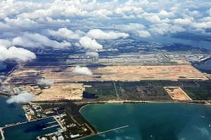 An aerial view of the eastern part of Singapore, where Changi Terminal 5 will be constructed.