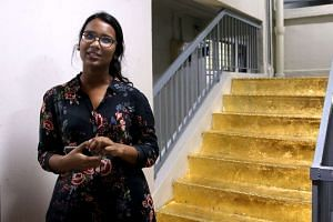 Miss Priyageetha Dia took five hours to transform the staircase with gold foil.