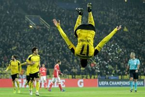 Dortmund's Pierre-Emerick Aubameyang celebrates scoring the 4-0 goal.