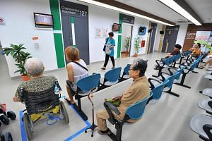 People waiting at Tampines Polyclinic.