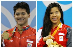 Olympic gold medallist Joseph Schooling and Paralympic gold medallist Yip Pin Xiu.