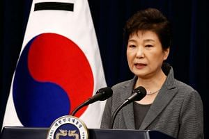 South Korean then President Park Geun Hye speaks during an address to the nation, at the presidential Blue House in Seoul, South Korea, on Nov 29 2016.