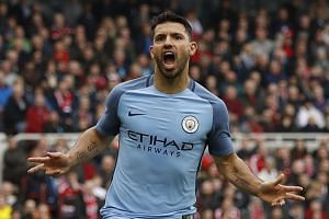 Manchester City's Sergio Aguero celebrates scoring their second goal at the FA Cup Quarter Final at The Riverside Stadium on March 11, 2017.