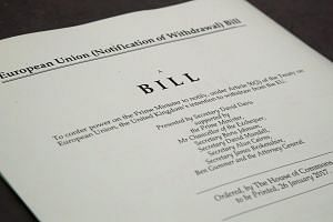 A copy of the Brexit Article 50 Bill which was approved by parliament on Monday, giving the Prime Minister the power to start the process to leave the 28-nation bloc.