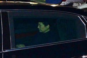 South Korea's ousted leader Park Geun Hye sitting inside a vehicle as she leaves the Presidential Blue House in Seoul, South Korea, on March 12, 2017.