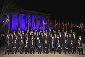 Participants in the G20 finance ministers and central bank governors meeting posing for a photo in Baden-Baden, Germany, on Friday (March 17).