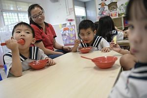 A nursery class at the Yishun AceKidz childcare centre, which opened in late 2015. CEO David Wong attributes its success in part to the staff's quality engagement with parents.