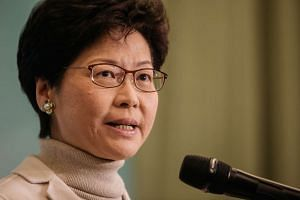 Carrie Lam, Hong Kong's former chief secretary, speaks during a news conference in Hong Kong, China, on Jan 16, 2017.