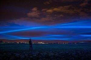 Mr Daan Roosegaarde's works include Waterlicht (above) near Westervoort; the Sustainable Dance Floor in Rotterdam; and the Van Gogh-Roosegaarde Path in Brabant, all in the Netherlands.