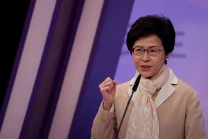 Chief Executive candidate former Chief Secretary Carrie Lam speaking during a debate in Hong Kong, China, on March 14, 2017.