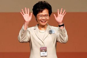 Mrs Carrie Lam after winning the election for Hong Kong's Chief Executive in Hong Kong on March 26, 2017.