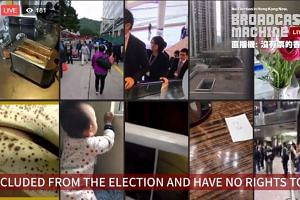 The collage of images comprises clips submitted by Hongkongers going about their normal business to show their lack of participation in the chief executive election.