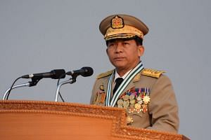 Senior General Min Aung Hlaing, commander in chief of the Myanmar Armed Forces, speaking during a ceremony marking the country's 72nd Armed Forces Day in Naypyidaw.