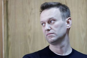 Russian opposition leader Alexei Navalny attending a hearing after being detained at the protest against corruption and demanding the resignation of Prime Minister Dmitry Medvedev, on March 27, 2017.