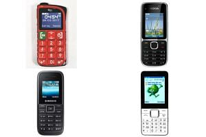 3G feature phones like the SGino Simple 3G phone (top left), Nokia C2-01 (top right), Newings W200 (bottom right) and Samsung Keystone 3 are widely used by thousands of mobile phone users.