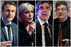 (From left to right), Emmanuel Macron, Marine Le Pen, Francois Fillon and Jean-Luc Melenchon.