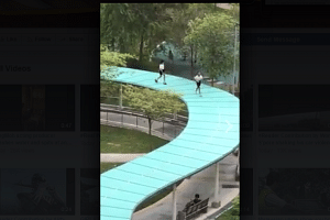 A screengrab of the video showing the girls running on the roof of the walkway was posted on Tuesday (April 4).
