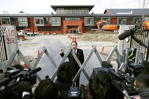 Yasunori Kagoike, administrator of Moritomo Gakuen, speaking to media at an elementary school under construction in Toyonaka, Osaka prefecture, Japan, on March 9, 2017.