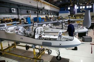 A line of UAVs at Israel Aerospace Industries (IAI). The deal will see IAI provide India with an advanced defence system of medium-range surface-to-air missiles, launchers and communications technology.
