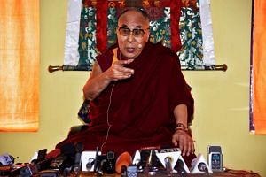 Tibetan spiritual leader Dalai Lama speaks at a press conference after delivering teachings at Yiga Choezin, in Tawang, in the northeastern state of Arunachal Pradesh, India on April 8, 2017.