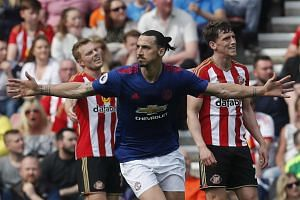 Zlatan Ibrahimovic celebrates after scoring a goal in the match against Sunderland.