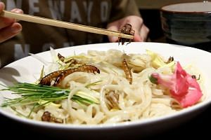 A customer eats an 'Insect tsukemen' ramen noodle topped with fried worms and crickets at 'Ramen Nagi' restaurant in Tokyo, Japan on April 9, 2017.