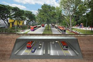 An artist's impression of the North-South Corridor along Ang Mo Kio Avenue 6.