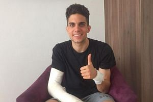Bartra giving a thumbs up one day after being injured in an attack on Borussia Dortmund's team bus in Dortmund, Germany on April 12, 2017.