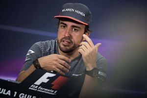 Alonso attends the drivers press conference ahead of the Bahrain Grand Prix, April 13, 2017.