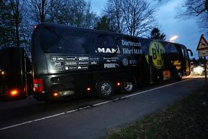 The Borussia Dortmund team bus after an explosion near their hotel on April 11, 2017.