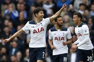 Tottenham's Son Heung-min celebrates scoring their second goal.