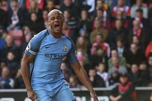 Kompany celebrates scoring a goal against Southampton.
