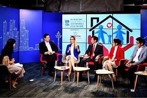 (From left) ST Invest Editor Ms Lorna Tan; Dr Jeremy Lim, Partner & Head of Health and Life Sciences Practice, Asia Pacific at Oliver Wyman; Ms Pauline Lim, Executive Director at Life Insurance Association; Mr Mack Eng, Head of Medical at Prudential;