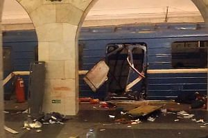 The damage to the train carriage from the bombing is shown at Technological Institute metro station in Saint Petersburg on April 3, 2017.