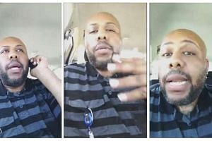 A man who identified himself as Stevie Steve is seen in a combination of stills from a video he broadcast of himself on Facebook in Cleveland, Ohio, on April 16, 2017.